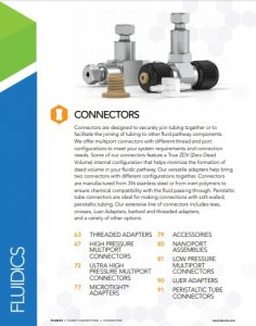 IDEX Fluidics Catalog Connectors Chapter