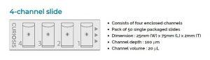 Curiosis C Slide Disposable Hemocytometer 4 Chamber Slide